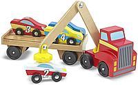 Развивающая игрушка из дерева «Автовоз погрузчик с машинками», фото 1