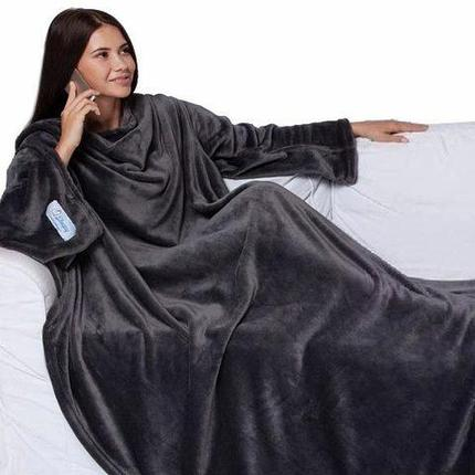 Одеяло/плед/халат с рукавами Снагги Бланкет {Snuggie Blanket} (Черный), фото 2