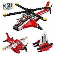 3125 Констр. вертолет Helicopter красный 102 дет (можно собрать 3 модели) 24*16см, фото 1