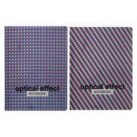 Бизнес-блокнот А5, 64 листа Optical effect, интегральная обложка, глянцевая ламинация, металлизация, МИКС
