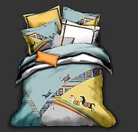Комплект постельного белья двуспальный HERMES сатин LUX с лошадьми