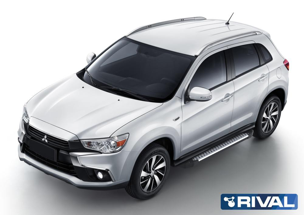 "Порог-площадка ""Bmw-Style"" + комплект крепежа, RIVAL, Mitsubishi ASX 2010-н.в."