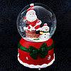 """Музыкальный снежный шар """"Дед Мороз на крыше"""", 16см."""