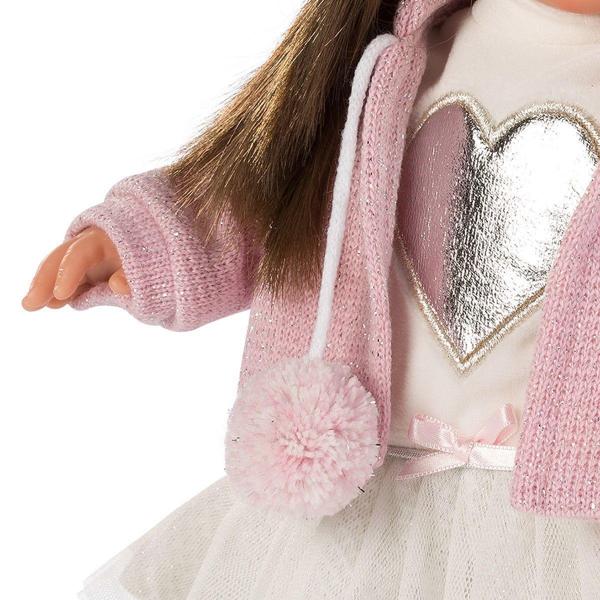 Кукла Llorens Сара шатенка в розовом жакете и белой кружевной юбке - фото 4
