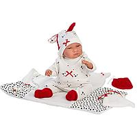 Пупс Llorens в белом комбинезоне в крапинку, с одеялом