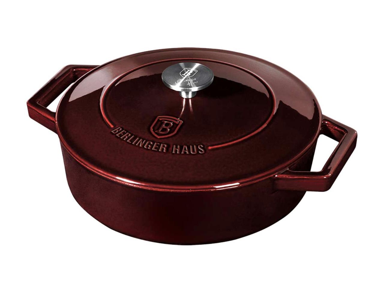 Чугунная кастрюля с крышкой Berlinger Haus Metallic Line Burgundy Edition 2.5 л