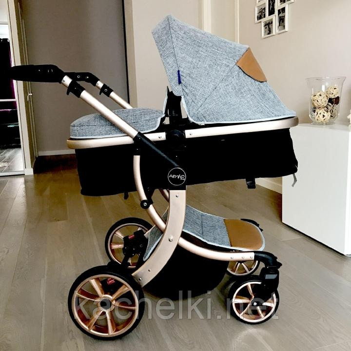 Детская коляска-трансформер 2в1 Aimile Wingoffly (на золотой раме), Китай