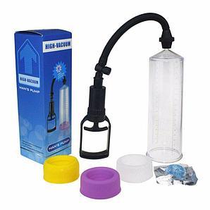 """Вакуумная помпа """"Man's Pump"""" с комплектом цветных манжет (длина 20.0 см, диаметр 6.0 см)"""