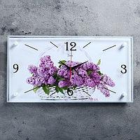 """Часы настенные, серия: Цветы, """"Сирень в корзине"""", 52х26 см, микс"""