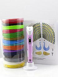 """Набор пластика для 3D ручки """"НИТ"""" в тубусе: ручка розовая NIT-Pen2 + PLA - 15 цветов + 4 трафарета (150"""