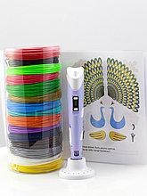 """Набор пластика для 3D ручки """"НИТ"""" в тубусе: ручка фиолетовая NIT-Pen2 + PLA - 15 цветов + 4 трафарета (150"""