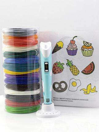 """Набор пластика для 3D ручки """"НИТ"""" в тубусе: ручка голубая NIT-Pen2 + ABS - 15 цветов + 4 трафарета (150, фото 2"""