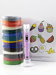 """Набор пластика для 3D ручки """"НИТ"""" в тубусе: ручка розовая NIT-Pen2 + ABS -15 цветов + 4 трафарета (150 метров)"""