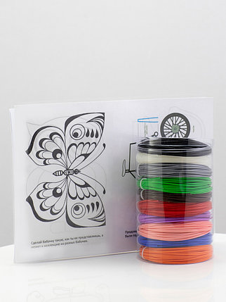 """Набор пластик для 3D ручки """"НИТ"""" в тубусе: ABS - 10 цветов + 4 трафарета (100 метров), фото 2"""