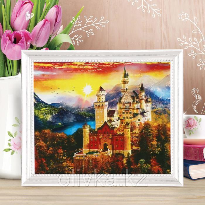Роспись по холсту «Замок на закате» по номерам с красками по 3 мл+ кисти+крепеж, 30×40 см