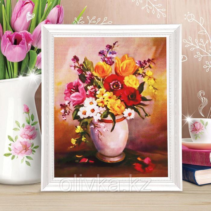 Роспись по холсту «Букет в вазе» по номерам с красками по 3 мл+ кисти+крепеж, 30×40 см