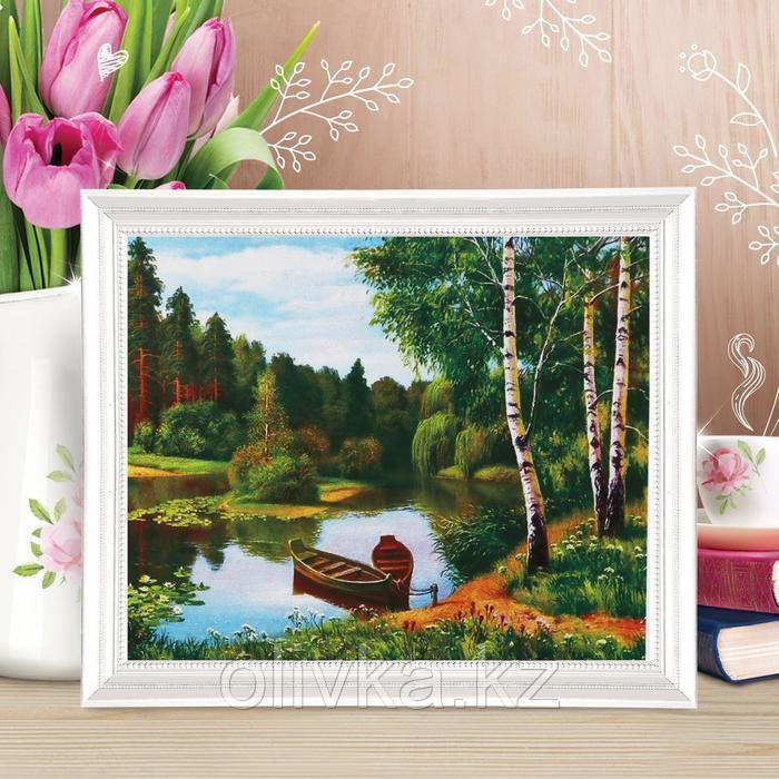 Роспись по холсту «Пара лодок» по номерам с красками по 3 мл+ кисти+крепеж, 30×40 см