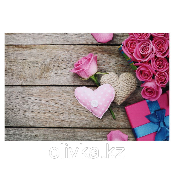 """Фотофон винил """"Розовые розы и сердечки"""" 81,5х127, см"""