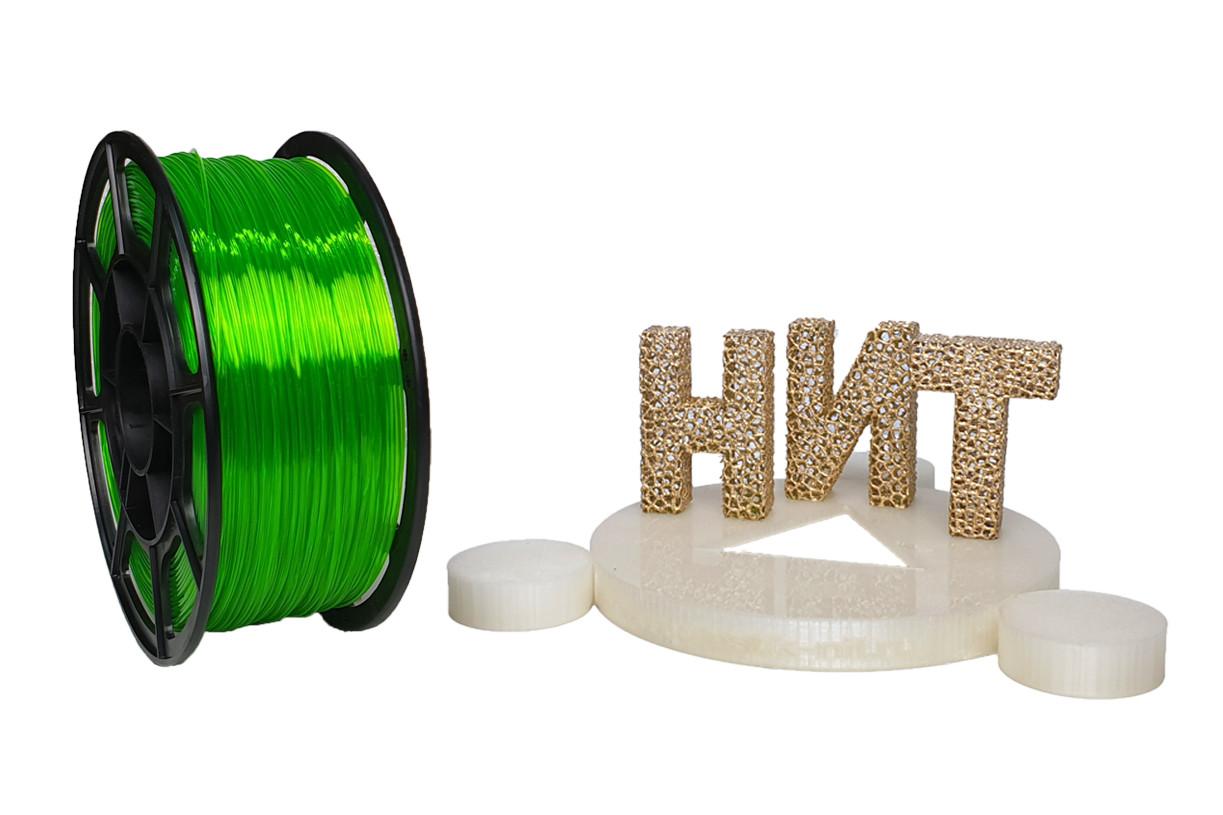 """Пластик для 3D печати """"НИТ"""", Petg флуоресцентный зеленый прозрачный 1 кг."""