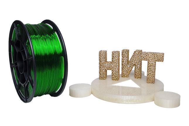 "Пластик для 3D печати ""НИТ"", Petg прозрачно-зеленый 1 кг., фото 2"