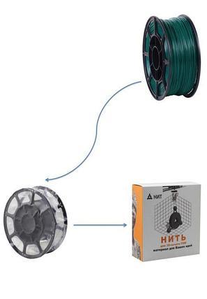 """Пластик для 3D печати """"НИТ"""", PLA  изумрудный 1 кг., фото 2"""