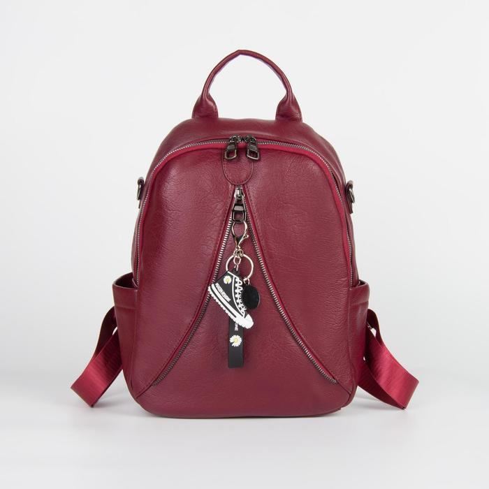 Рюкзак молод L-0958, 23*13*33, отд на молнии, н/карман, 2 бок кармана, стропа, бордовый
