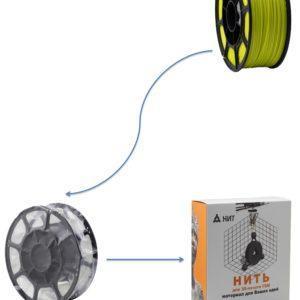"""Пластик для 3D печати """"НИТ"""", ABS флуоросцентный желтый  1 кг., фото 2"""