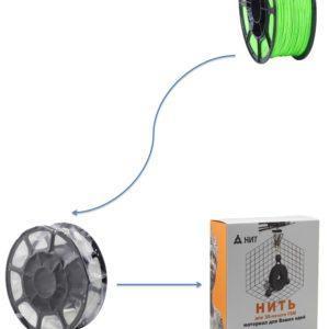 """Пластик для 3D печати """"НИТ"""", ABS флуоресцентный салатный 1 кг., фото 2"""