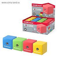 Точилка 1 отверстие ErichKrause S-Cube с контейнером, микс 4В 50141