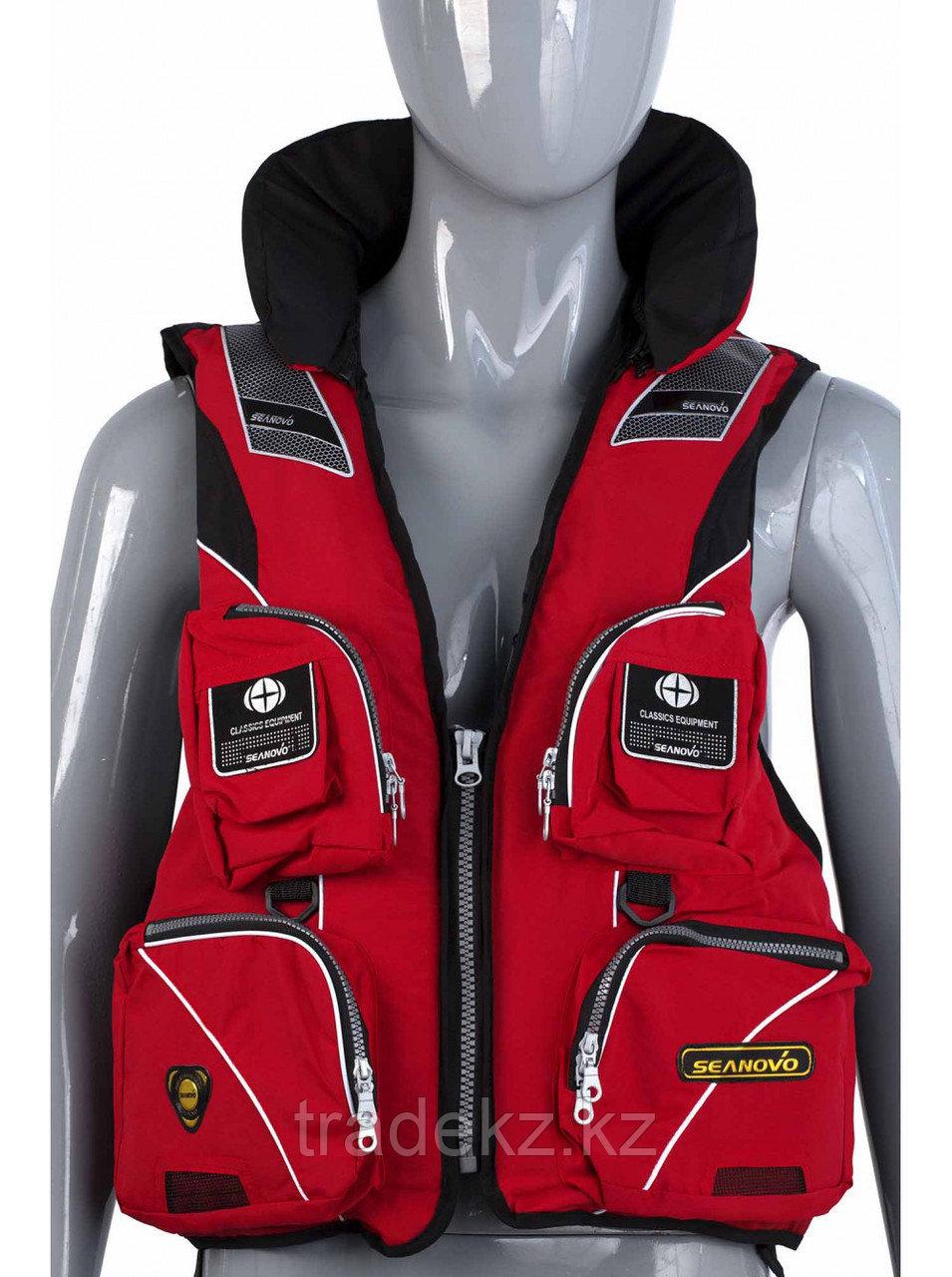 Жилет спасательный SEANOVO SJ11, красный, накладные карманы, размер XXXXL (60+)