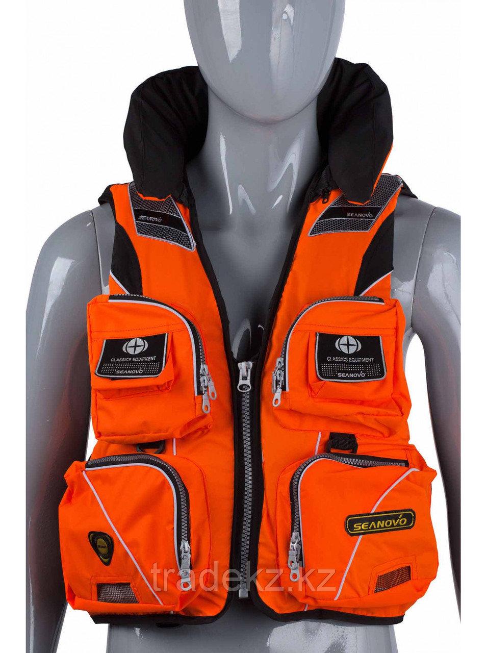 Жилет спасательный SEANOVO SJ11, оранжевый, накладные карманы, размер XXXXL (60+)