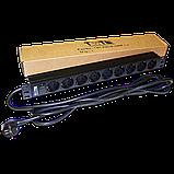 "Блок розеток 19"" 9 шт. без выключателя, 16A 250V, шнур питания 3.0 м, фото 2"