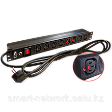 "Блок розеток 19"" 8 шт. C13 с фиксатором вилки, 10A 250V, шнур питания 3.0 м"