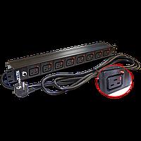 "Блок розеток 19"" 8 шт. C19 с фиксатором вилки, 16A 250V, шнур питания 3.0 м"