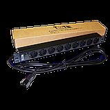 """Блок розеток 19"""" 9 шт. без выключателя, 10A 250V, шнур питания с вилкой C14, 3.0 м, фото 2"""