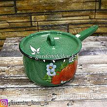 Ковш для кипячения воды с декором. Материал: Металл. Цвет: Зеленый. Объем: 1.5л.