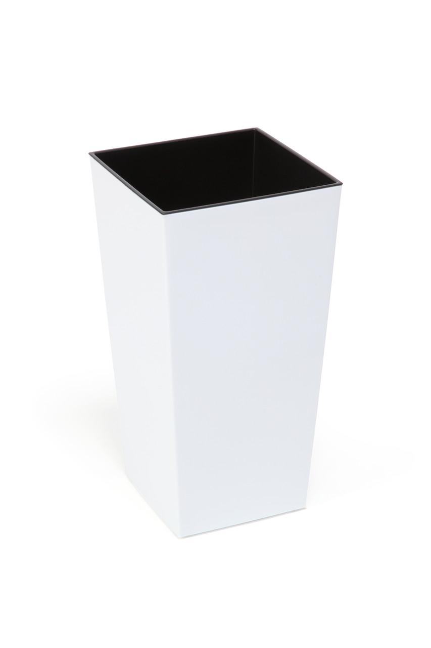Горшок Finezja Lamela 400x400 - белый с вкладышем