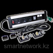 Блок розеток: 3 эл. модуля, 2 USB модуля, 2 порта кат.6