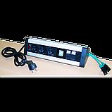 Блок розеток: 3 эл. модуля, 2 USB модуля, 2 порта кат.6, фото 2
