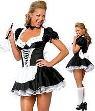 """Ролевой костюм""""  французской горничной"""" с низким вырезом, короткими рукавами и кружевными деталями"""