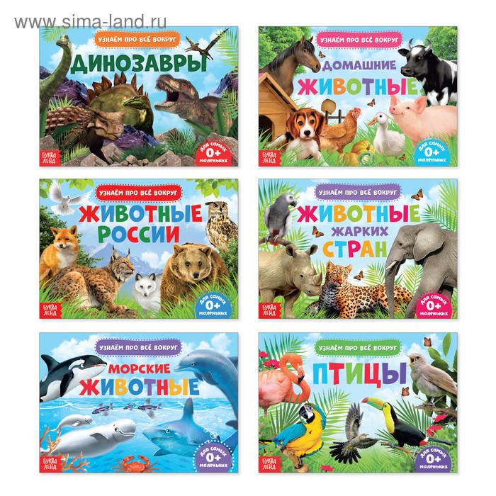 Обучающие книжки набор 6 шт. «Узнаём про всё вокруг», 108 животных и птиц…