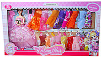 YSN-613 Кукла в бальном платье+18платьев и аксессуары, сгибаются руки, 60*34см