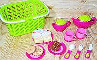 """Sk63 A/b Сервиз чайный с сладостями в корзинке """"Play food Set"""" 26*21см"""