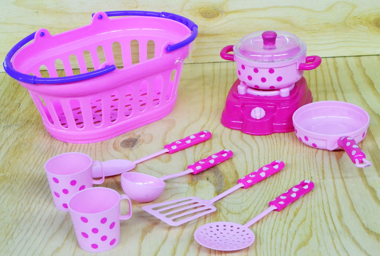 117C Кухня в розовой корзине Dream Portable Baskets  23*10см