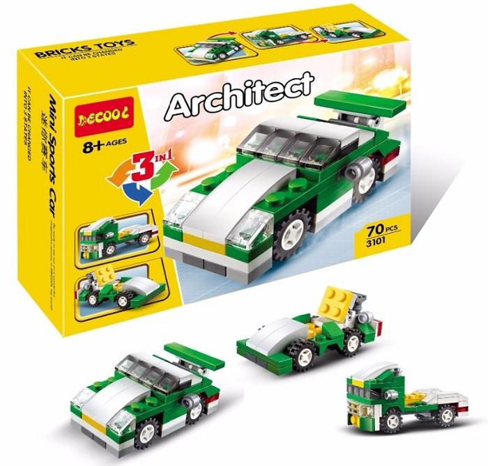 3101 Констр. Машина Architect 3 в 1  (зеленый) 70 деталей 16*11см