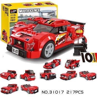 31017 Констр. Ралли Race Truck  217 дет (10 моделей можно собрать). красная спорт. Маш.  28*21см