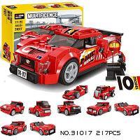 31017 Констр. Ралли Race Truck  217 дет (10 моделей можно собрать). красная спорт. Маш.  28*21см, фото 1