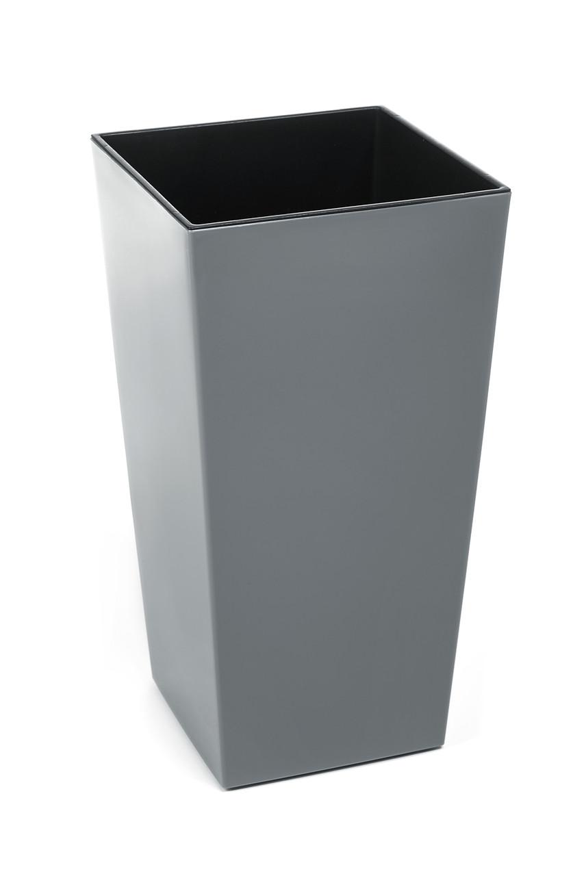 Горшок Finezja Lamela 400x400 - серый с вкладышем