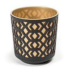 Горшок AZTEK Lamela 300 - к / черный + ж / светлое золото