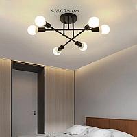 Винтажная потолочная черная люстра на 6 ламп, цоколь Е27 (код 0129-6BK)